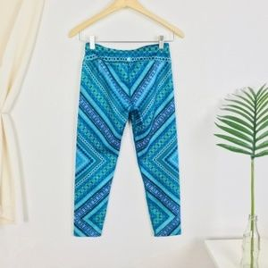prana Roxanne Blue Green Chile Crop Capri Leggings